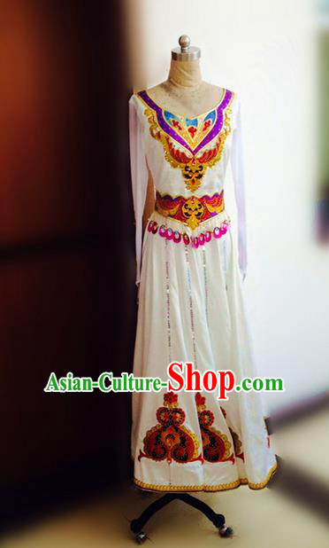 Traditional Chinese Uyghur Nationality Dance Costume, Chinese Minority Nationality Uigurian Dance White Dress for Women