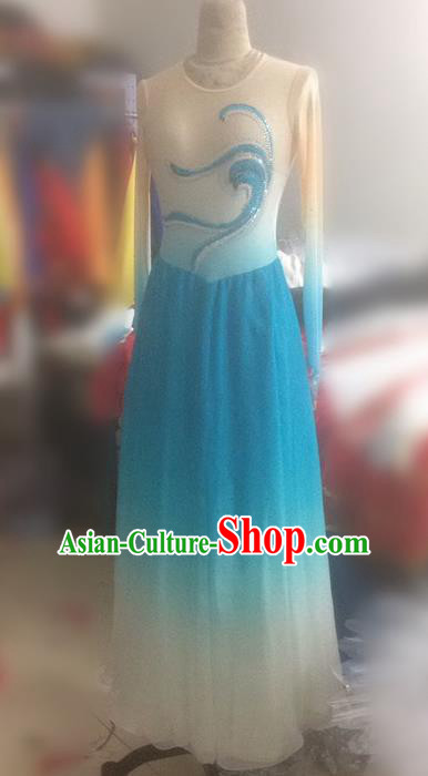 Traditional Ancient Chinese National Dance Uniform, Elegant Hanfu China Classical Dance Dress Blue Clothing for Women