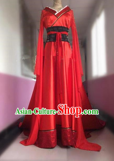 Asian Chinese Traditional Han Dynasties Princess Wedding Costume, China Elegant Hanfu Bride Embroidery Bottom Drawer Dress