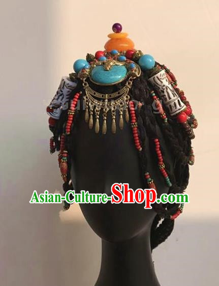 Traditional Chinese Zang Nationality Hair Accessories, Tibetan Chinese Minority Nationality Headwear for Women
