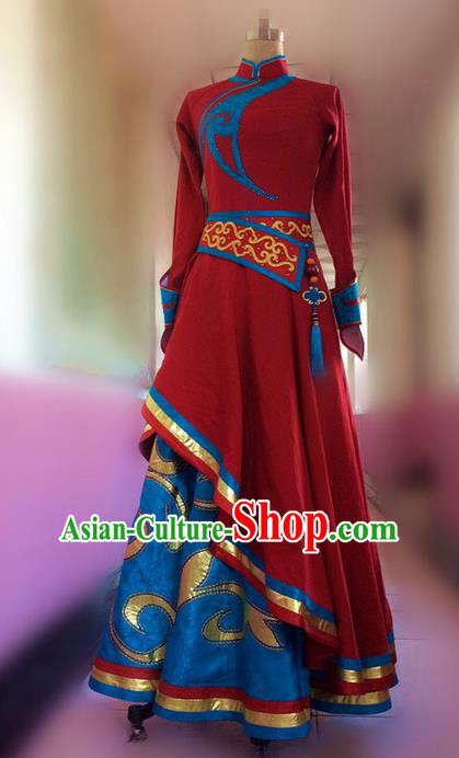 Traditional Chinese Mongol Nationality Dance Dress, Mongols Female Folk Dance Ethnic Pleated Skirt, Chinese Mongolian Minority Nationality Embroidery Costume for Women