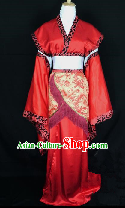 Asian Chinese Traditional Cospaly Han Dynasty Princess Wedding Costume, China Elegant Hanfu Bride Red Dress for Women