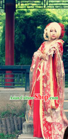 Asian Chinese Traditional Cospaly Tang Dynasty Imperial Consort Costume, China Elegant Hanfu Princess Wedding Red Dress for Women