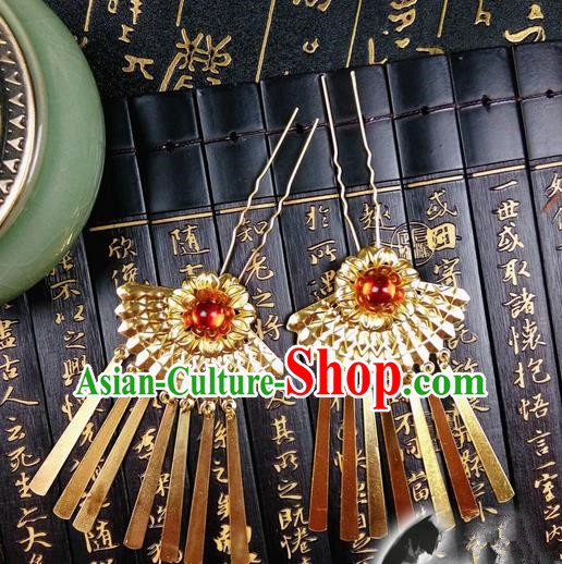 Traditional Handmade Chinese Ancient Classical Hair Accessories Golden Hairpin, Step Shake Tassel Hair Stick, Hair Fascinators Hairpins for Women