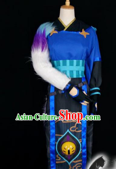 Asian Chinese Traditional Cospaly Han Dynasty Taoist Priest Costume, China Elegant Hanfu Priest Frock for Men