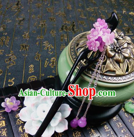 Traditional Handmade Chinese Ancient Classical Hair Accessories Ebony Hairpins, Princess Pink Oriental Cherry Tassel Step Shake Headpiece for Women