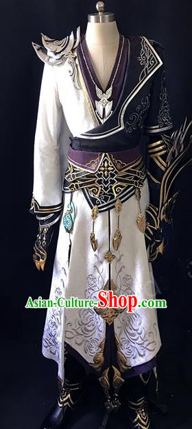 Asian Chinese Traditional Cospaly Han Dynasty Customization Swordsman Costume, China Elegant Hanfu Embroidered Clothing for Men
