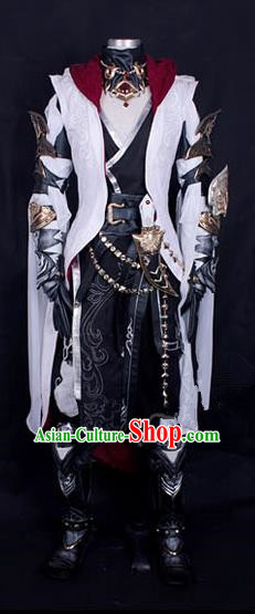 Asian Chinese Traditional Cospaly Customization Ming Dynasty Warrior Embroidered Costume, China Elegant Hanfu Knight-errant Clothing for Men