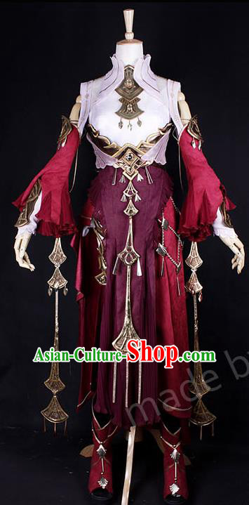 Asian Chinese Traditional Cospaly Costume Customization Dunhuang Flying Apsaras Princess Costume, China Elegant Hanfu Peri Red Dress Clothing for Women