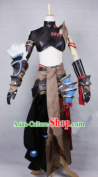 Asian Chinese Traditional Cospaly Costume Customization Beggars Sect Costume, China Elegant Hanfu Swordsman Clothing for Women