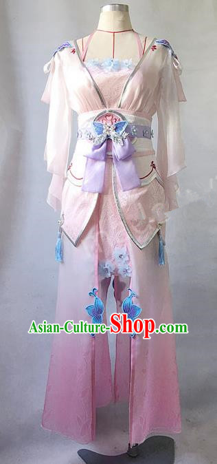 Asian Chinese Traditional Cospaly Costume Customization Ancient Princess Costume Complete Set, China Elegant Hanfu Peri Young Lady Dress Clothing for Women