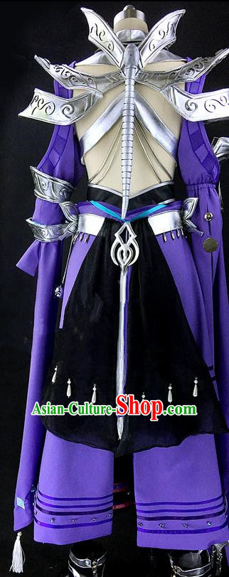 Asian Chinese Traditional Cospaly Costume Customization Ancient Young Men Costume Complete Set, China Elegant Hanfu Swordsman Warrior Clothing for Men