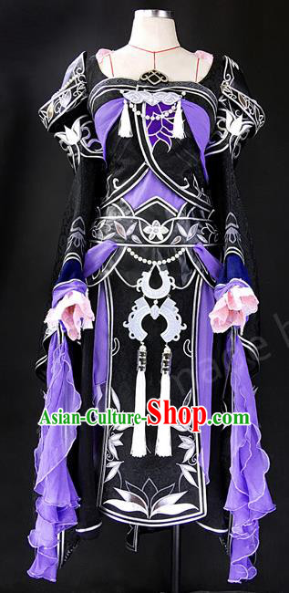 Asian Chinese Traditional Cospaly Costume Customization Ancient Female General Warrior Costume Complete Set, China Elegant Hanfu Swordsman Clothing for Women