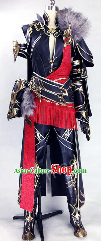 Asian Chinese Traditional Cospaly Costume Customization Ancient General Costume Complete Set, China Elegant Hanfu Swordsman Prince Clothing for Men