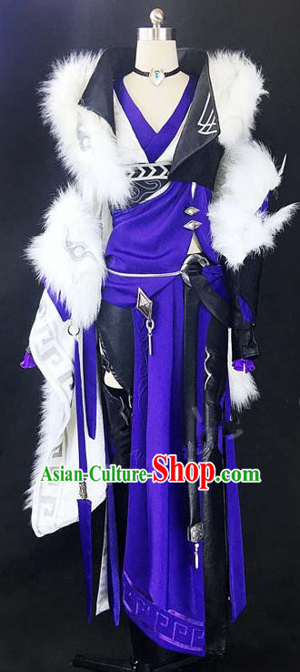 Asian Chinese Traditional Cospaly Costume Customization Ancient Female General Costume Complete Set, China Elegant Hanfu Swordsman Clothing for Women