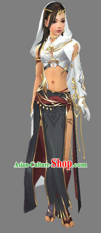 Asian Chinese Traditional Cospaly Costume Customization Ancient Zoroastrianism Female Costume Complete Set, China Elegant Hanfu Saintess Swordsman Clothing for Women
