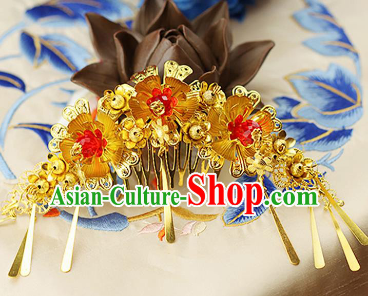 Asian Chinese Ancient Style Hair Jewelry Accessories Wedding Hair Comb, Lotus Step Shake Hanfu Xiuhe Suits Bride Handmade Hair Sticks Hairpins for Women