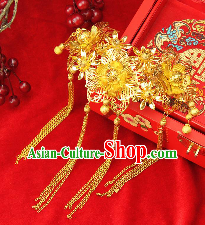 Asian Chinese Ancient Style Hair Jewelry Accessories Wedding Tassel Hairpin, Step Shake Hanfu Xiuhe Suits Bride Handmade Hair Comb for Women