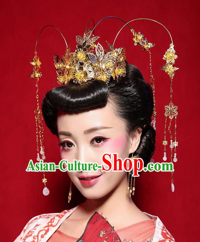 Chinese Ancient Style Hair Jewelry Accessories Wedding Tassel Hairpins, Hanfu Xiuhe Suits Step Shake Bride Handmade Phoenix Coronet for Women