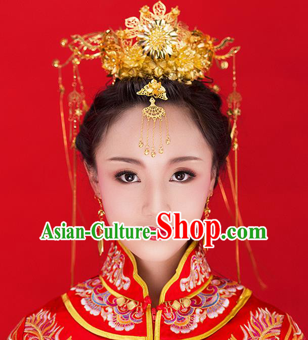 Chinese Ancient Style Hair Jewelry Accessories Wedding Tassel Hairpins, Hanfu Xiuhe Suits Step Shake Bride Tuinga Handmade Phoenix Coronet for Women