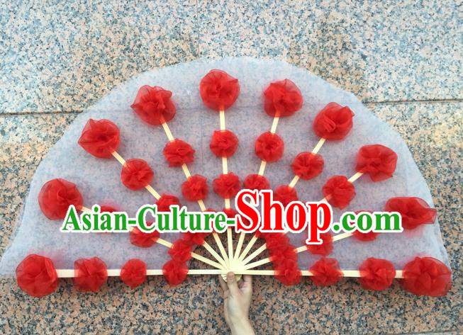 Pure Silk Traditional Chinese Fans Oriental Flowers Fan Folk Dance Dance Cultural Hand Fan