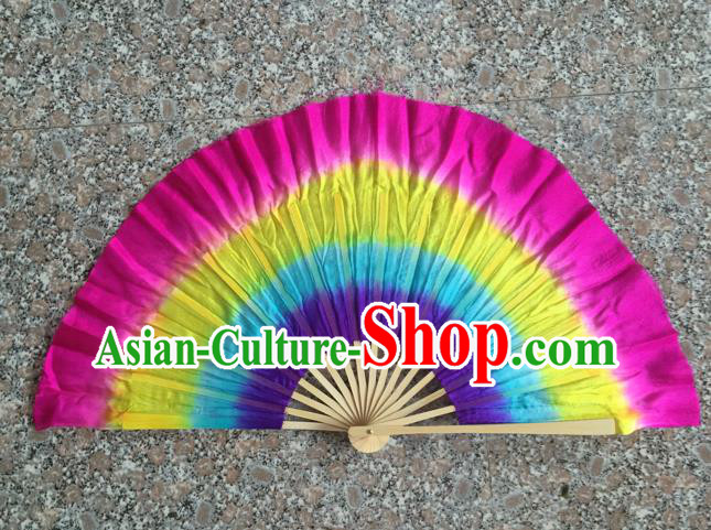 Pure Silk Traditional Chinese Fans Oriental Colorful Fan Folk Dance Dance Cultural Hand Fan
