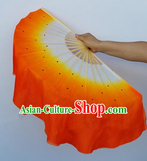 Orange Pure Silk Traditional Chinese Fans Oriental Colorful Fan Folk Dance Dance Cultural Hand Fan