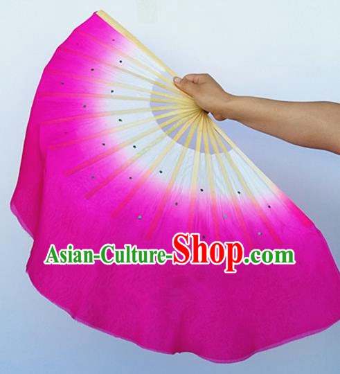 Rosy Pure Silk Traditional Chinese Fans Oriental Fan Folk Dance Dance Cultural Hand Fan
