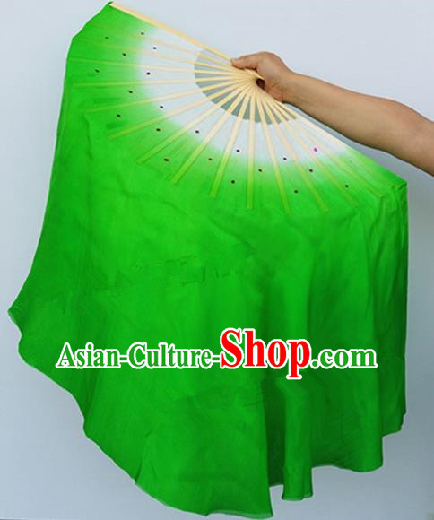 Pure Silk Traditional Chinese Fans Oriental Fan Folk Dance Cultural Yanko Dance Green Hand Fan