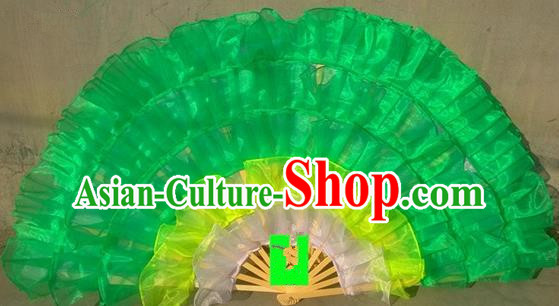 Pure Silk Traditional Chinese Fans Oriental Green Ribbon Fan Folk Dance Cultural Yanko Dance Hand Fan