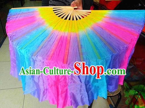 Pure Silk Traditional Chinese Fans Oriental Colorful Ribbon Folding Fan Folk Dance Cultural Yangko Dance Hand Fan