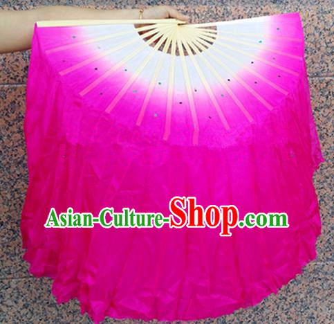 Pure Silk Traditional Chinese Fans Oriental Pink Ribbon Folding Fan Folk Dance Cultural Yangko Dance Hand Fan
