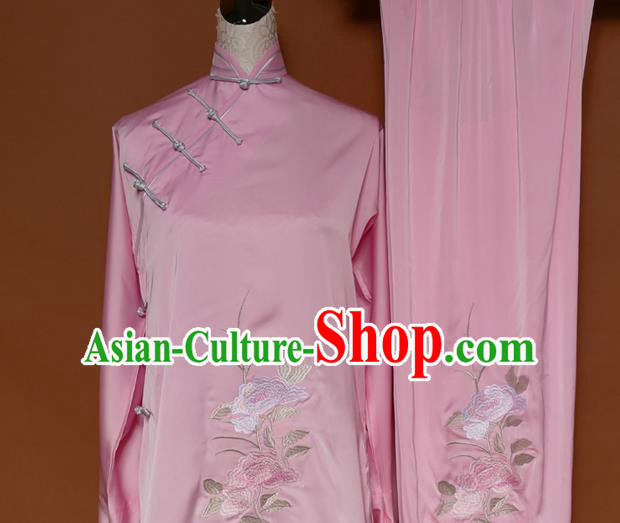 Top Grade Kung Fu Costume Asian Chinese Martial Arts Kung Fu Training Uniform, China Embroidery Peony Gongfu Shaolin Wushu Pink Clothing for Women