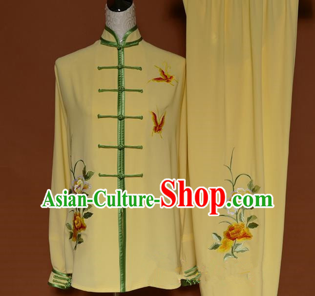 Top Grade Kung Fu Costume Asian Chinese Martial Arts Kung Fu Training Uniform, China Embroidery Butterfly Gongfu Shaolin Wushu Yellow Clothing for Women