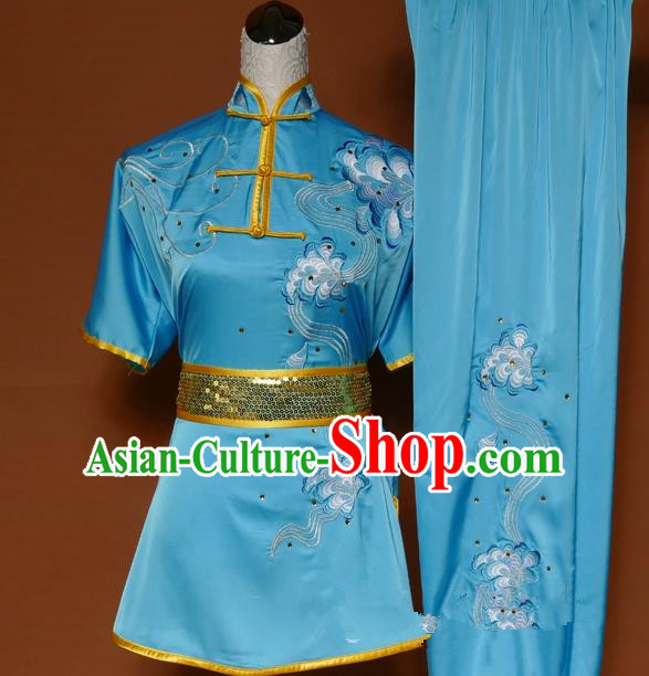 Top Grade Kung Fu Costume Asian Chinese Martial Arts Tai Chi Training Blue Uniform, China Embroidery Gongfu Shaolin Wushu Clothing for Men
