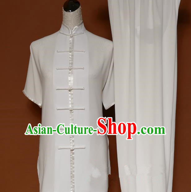 Top Grade Kung Fu Costume Asian Chinese Martial Arts Tai Chi Training White Uniform, China Linen Gongfu Shaolin Wushu Clothing for Men for Women
