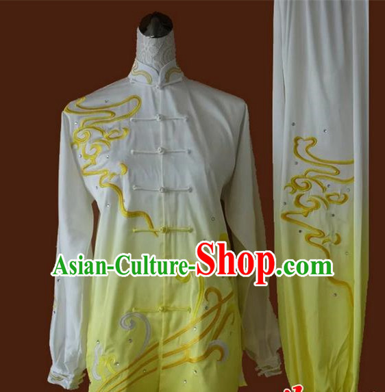 Asian Chinese Top Grade Silk Kung Fu Costume Martial Arts Tai Chi Training Suit, China Embroidery Gongfu Shaolin Wushu Gradient Yellow Uniform for Women