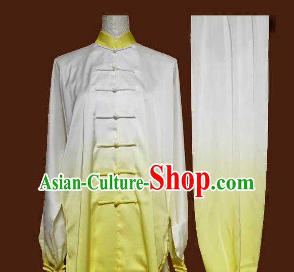Asian Chinese Top Grade Silk Kung Fu Costume Martial Arts Tai Chi Training Suit, China Gongfu Shaolin Wushu Gradient Yellow Uniform for Women