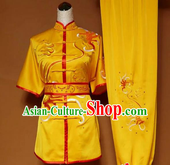 Asian Chinese Top Grade Silk Kung Fu Costume Martial Arts Tai Chi Training Suit, China Gongfu Shaolin Wushu Yellow Embroidery Uniform for Women