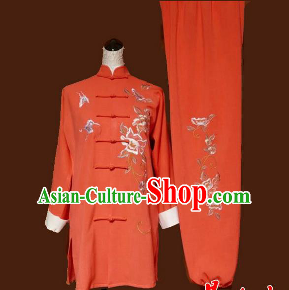 Asian Chinese Top Grade Linen Kung Fu Costume Martial Arts Tai Chi Training Suit, China Gongfu Shaolin Wushu Embroidery Butterfly Peony Orange Uniform for Women