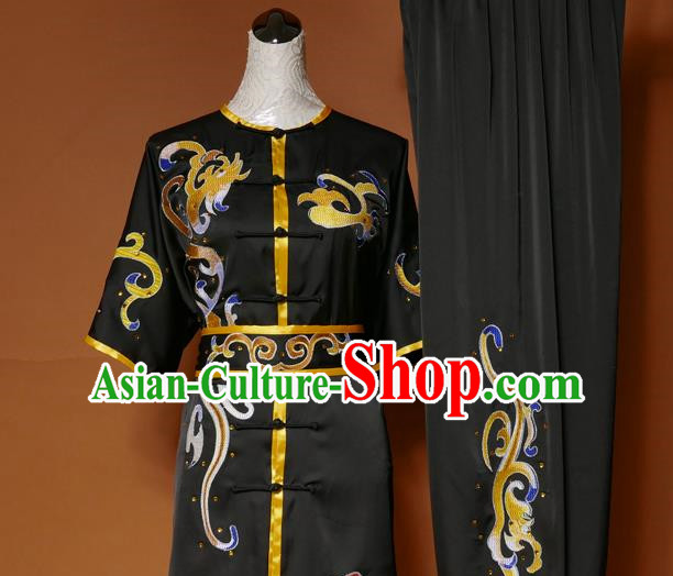 Top Grade Kung Fu Silk Costume Asian Chinese Martial Arts Tai Chi Training Black Short Sleeve Uniform, China Embroidery Gongfu Shaolin Wushu Clothing for Men
