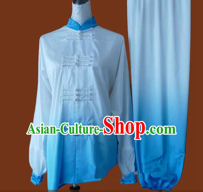 Top Grade Kung Fu Silk Costume Asian Chinese Martial Arts Tai Chi Training Blue Uniform, China Plated Buttons Gongfu Shaolin Wushu Clothing for Men for Women