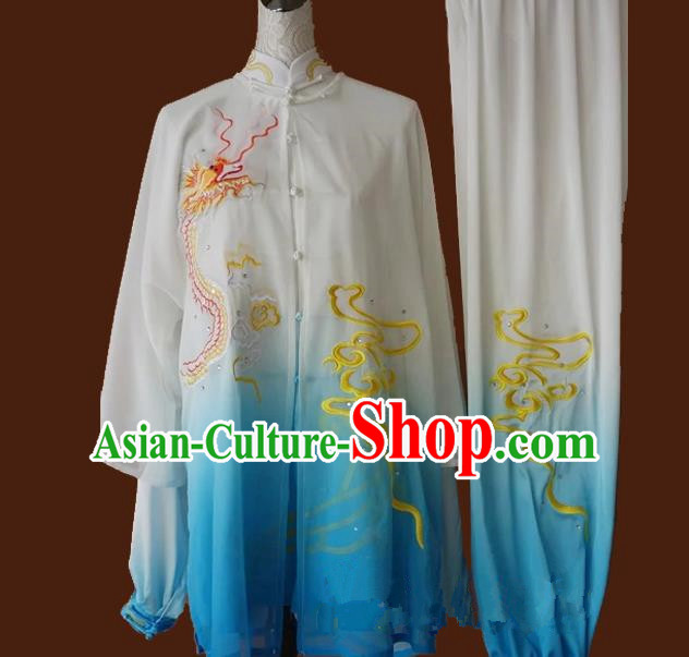 Top Grade Kung Fu Silk Costume Asian Chinese Martial Arts Tai Chi Training Gradient Blue Uniform, China Embroidery Dragon Gongfu Shaolin Wushu Clothing for Men for Women