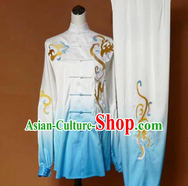 Top Grade Kung Fu Silk Costume Asian Chinese Martial Arts Tai Chi Training Gradient Blue Uniform, China Embroidery Gongfu Shaolin Wushu Clothing for Men for Women