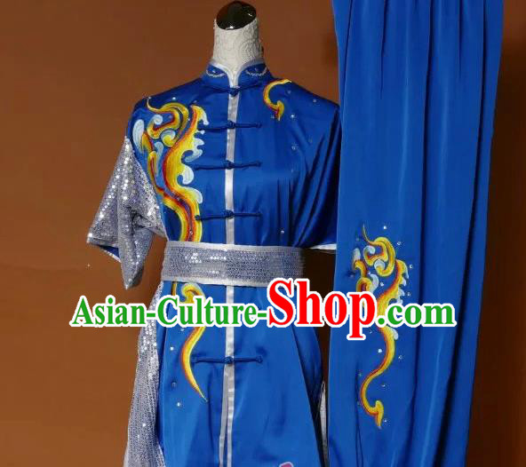 Top Grade Kung Fu Silk Costume Asian Chinese Martial Arts Tai Chi Training Blue Paillette Uniform, China Embroidery Gongfu Shaolin Wushu Clothing for Women for Men