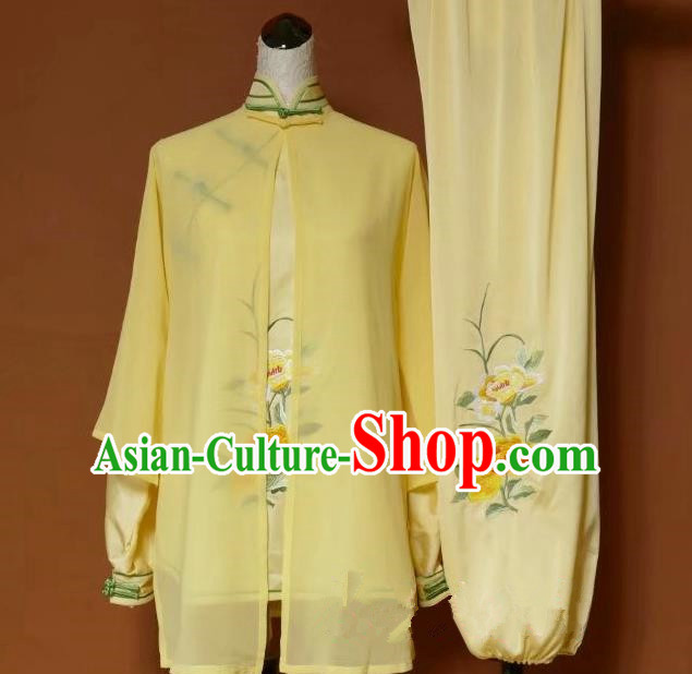 Top Grade Kung Fu Silk Costume Asian Chinese Martial Arts Tai Chi Training Yellow Uniform, China Embroidery Peony Gongfu Shaolin Wushu Clothing for Women