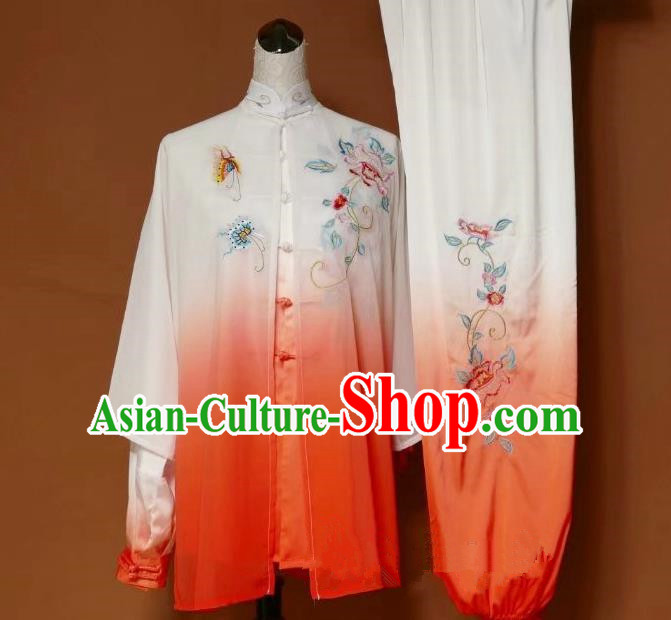Top Grade Kung Fu Silk Costume Asian Chinese Martial Arts Tai Chi Training Gradient Orange Uniform, China Embroidery Peony Gongfu Shaolin Wushu Clothing for Women