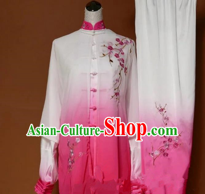Top Grade Kung Fu Silk Costume Asian Chinese Martial Arts Tai Chi Training Gradient Pink Uniform, China Embroidery Plum Blossom Gongfu Shaolin Wushu Clothing for Women
