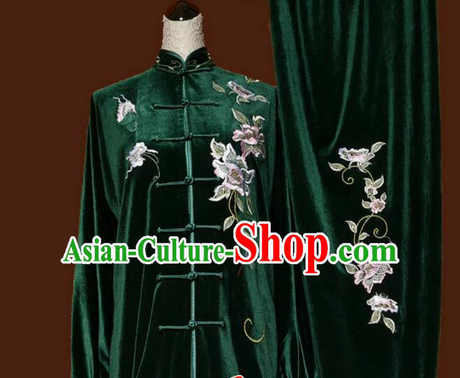 Top Grade Kung Fu Velvet Costume Asian Chinese Martial Arts Tai Chi Training Green Uniform, China Embroidery Peony Gongfu Shaolin Wushu Clothing for Women