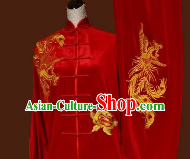 Asian Chinese Top Grade Velvet Kung Fu Costume Martial Arts Tai Chi Training Red Uniform, China Embroidery Phoenix Gongfu Shaolin Wushu Clothing for Women